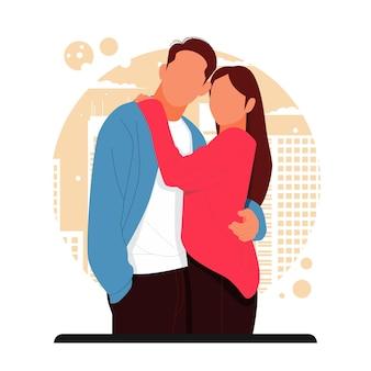 Portret romantycznej pary pozuje w stylowych strojach na walentynki