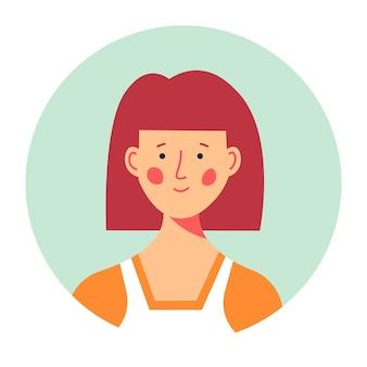 Portret rudej postaci kobiecej z uśmiechem na twarzy, na białym tle zdjęcie damy do mediów społecznościowych lub profilu do pracy. studentka uniwersytetu lub szkoły, modna postać z fryzurą. wektor w mieszkaniu