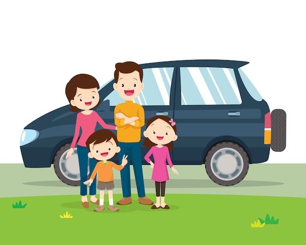 Portret samochodu i rodziny