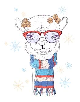 Portret ślicznej alpaki w świątecznych akcesoriach