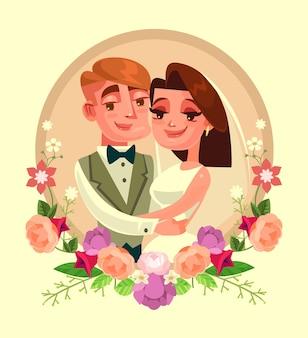 Portret ślubny w kwiatach rama ilustracja kreskówka płaska