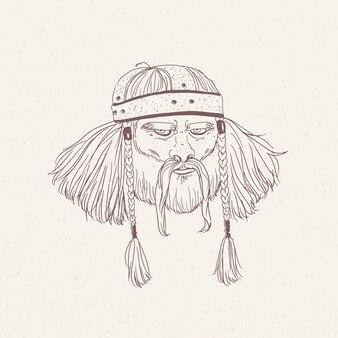 Portret starożytnego wojownika z brodą i warkocze ręcznie rysowane z linii konturu