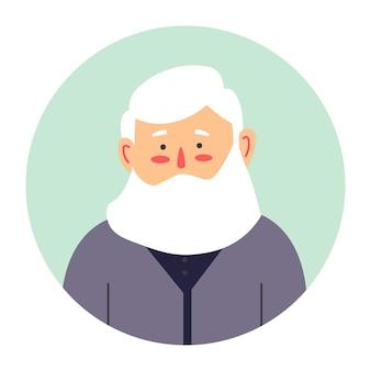 Portret starszego męskiego charakteru z długą brodą. ikona na białym tle brodatej postaci z rumieńcem na policzkach. starszy mężczyzna, dziadek patrzący prosto. hipster lub stary emeryt, wektor w stylu płaski