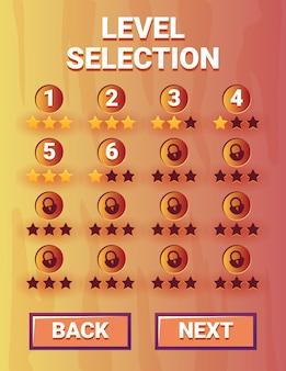 Portret stary drewniany interfejs wyboru poziomu interfejsu gry dla elementów zasobów gui