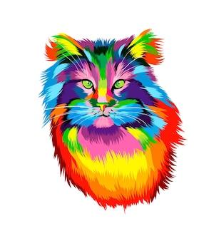 Portret twarzy kota z wielobarwnych farb splash realistycznego rysunku w kolorze akwareli