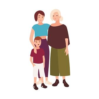 Portret uśmiechniętych żeńskich partnerów homoseksualnych lub małżonków stojących wraz z adoptowanym chłopcem. kochający rodzice lgbt z dzieckiem. postaci z kreskówek na białym tle. ilustracja.