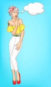 Portret wektor pop-artu, zaskoczony młoda kobieta