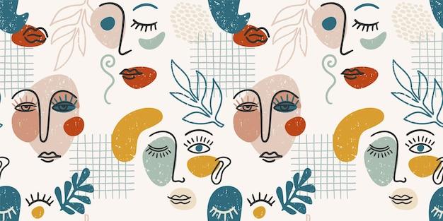 Portret współczesny. wzór z modnego malowania abstrakcyjnych twarzy. nowoczesny design na papier, okładkę, tkaniny, wystrój wnętrz i inne zastosowania.