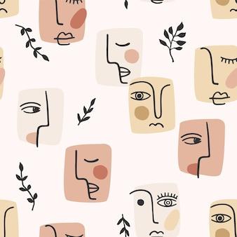 Portret współczesny. wzór z modnego malowania abstrakcyjnych twarzy.