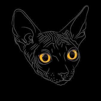 Portret z bliska, szkic kota rasy sfinks na czarnym tle z jasnożółtymi oczami. sfinks to rzadka rasa kotów znana z braku sierści.