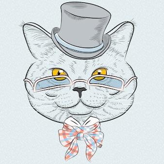Portret zbliżenie hipster brytyjskiego kota