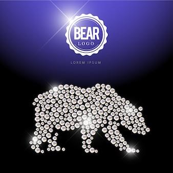 Portret zwierząt wykonany z klejnotów rhinestone na białym na czarnym tle. logo zwierząt, ikona zwierząt. wzór biżuterii, produkt ręcznie robiony. lśniący wzór. sylwetka zwierzęcia, spacerujący niedźwiedź.