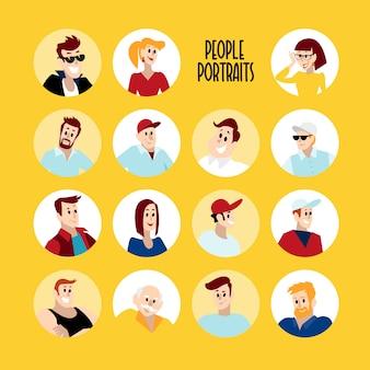 Portrety płaskie ludzi. uśmiechnięta ikona człowieka. awatar człowieka. proste słodkie postacie.