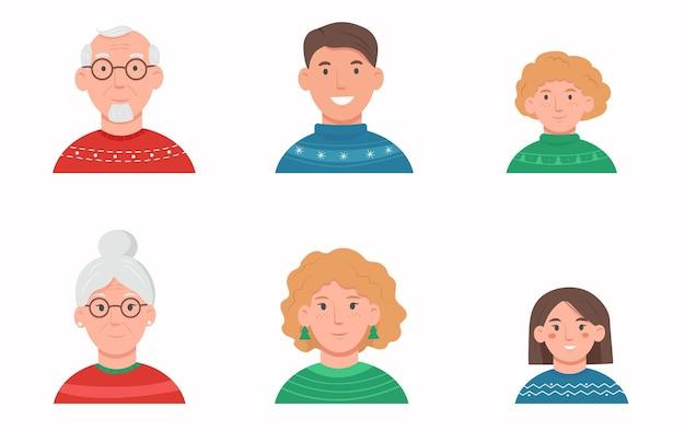 Portrety twarzy członka rodziny w świątecznych swetrach.