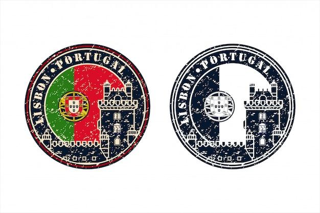 Portugal lisbons stamp travel logo projektu