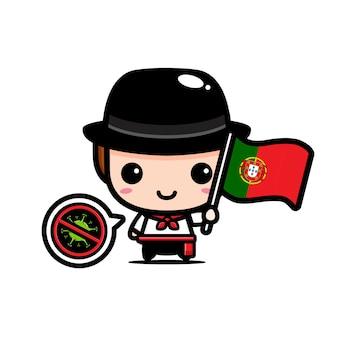 Portugalia chłopiec z flagą przeciwko wirusowi