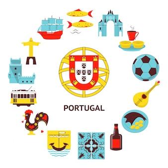 Portugalia okrągły baner w stylu płaski