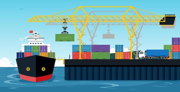Porty ze statkami towarowymi i kontenerami współpracują z dźwigiem.