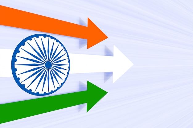 Poruszająca strzałka do przodu w koncepcji kolor flagi indii