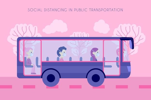 Poruszający autobus i pasażerowie zachowujący odległość