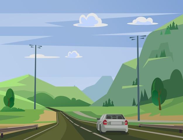 Poruszający się samochód na drodze obok płaskiej ilustracji lasu