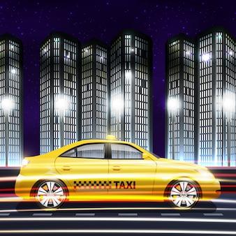 Poruszający żółty taxi samochód na nocy miasta tle
