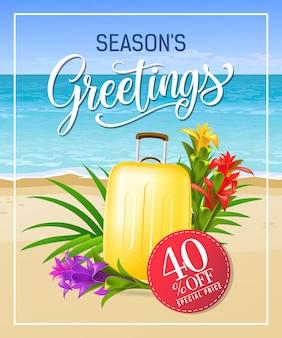 Pory roku pozdrowienia napis z plaży i walizki.