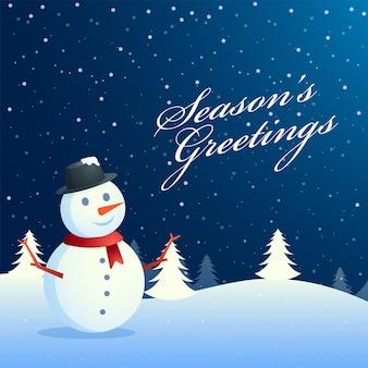 Pory roku pozdrowienia tło z ładny bałwan stojący na zimę