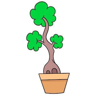 Posadź drzewko bonsai w mini doniczkach. emotikon kartonu. doodle ikona rysunku, ilustracji wektorowych