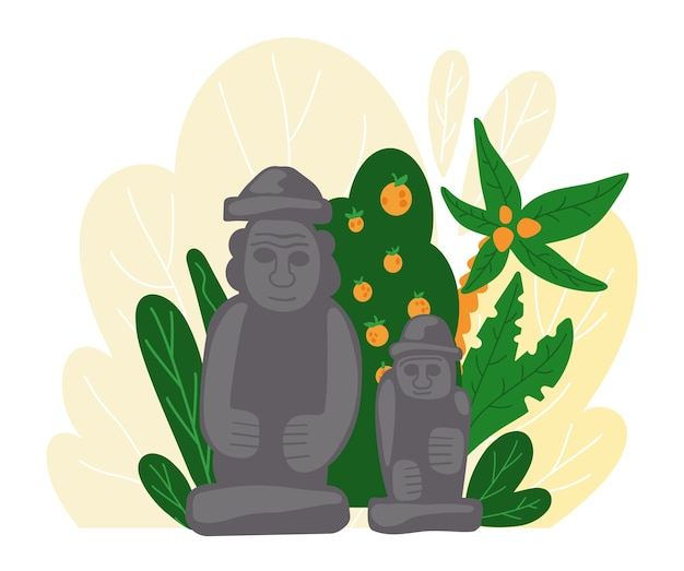 Posąg dolharubanga. tradycyjny symbol wyspy jeju w korei południowej