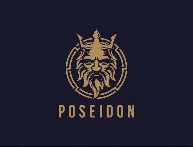 Poseidon nepture god logo ikona, szablon ikony logo korony tritont trójząb na ciemnym tle