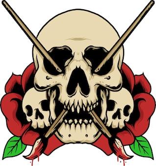 Posępna czaszka ilustracja sztuki róży