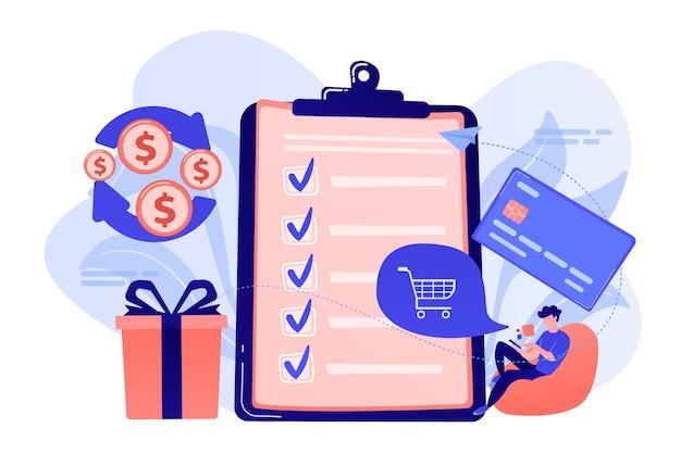 Posiadacz karty z zakupami online na smartfonie, nagrodami i listą kontrolną. usługa zwrotu gotówki, nagrody pieniężne, ilustracja koncepcja zwrotu pieniędzy