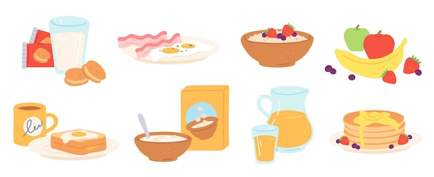 Posiłek śniadaniowy. rano obiad napój i jedzenie zdrowe owoce, jajka i bekon, chleb, owsianka, płatki zbożowe i mleko, naleśniki. zestaw obiadowy wektor. ciastka, słoik i szklanka z sokiem, naczynia do jedzenia