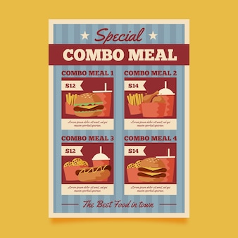 Posiłki combo - szablon plakatu