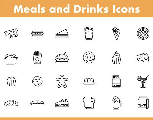 Posiłki i ikona baverage w stylu ilustracji wektorowych linii