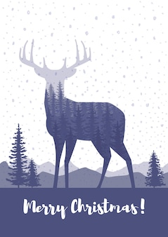 Poślubić projekt kartki świąteczne. sylwetka jelenia z sosnowego lasu, kolory niebieski i biały tło.