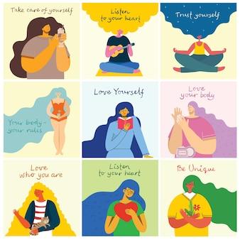 Posłuchaj swojego serca. kochaj siebie. karta koncepcja stylu życia wektor z tekstem nie zapomnij kochać siebie w stylu płaski