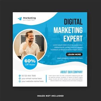 Post agencji zajmującej się marketingiem cyfrowym w mediach społecznościowych i szablon postu na instagramie