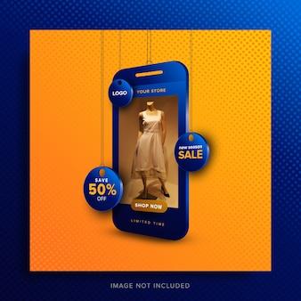 Post banner sprzedaży zakupów online w mediach społecznościowych