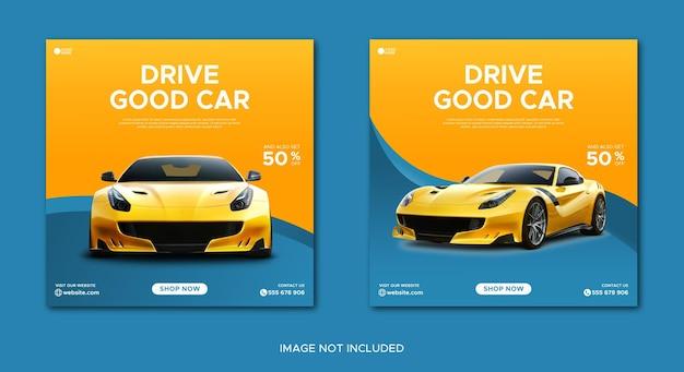Post i baner promocji wynajmu samochodów w mediach społecznościowych