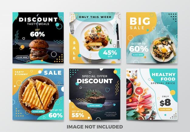 Post lub kwadratowy baner na instagramie. motyw fast food