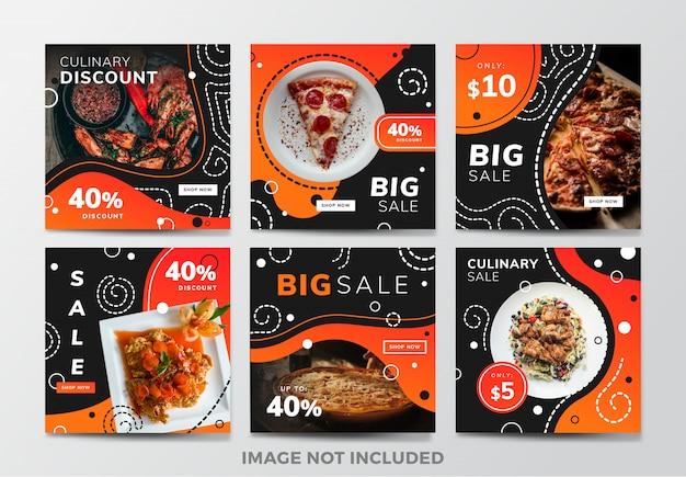 Post lub kwadratowy baner na instagramie. motyw restauracji żywności