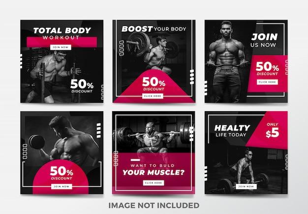 Post lub kwadratowy baner na instagramie. motyw siłowni i fitness