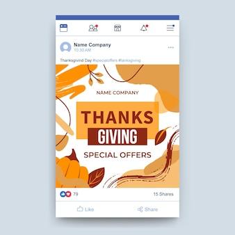 Post na facebooku z okazji święta dziękczynienia