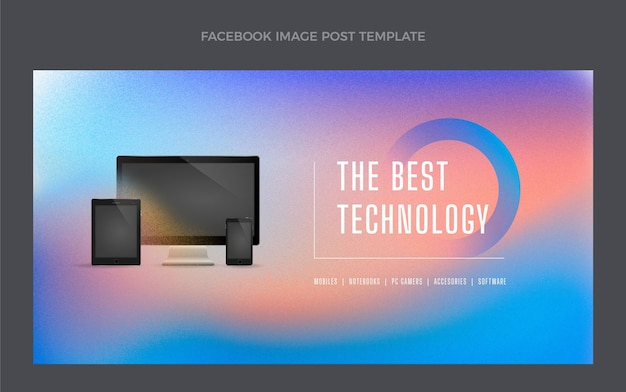 Post na facebooku z technologią tekstur gradientowych
