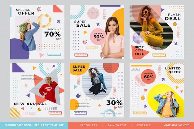 Post na instagramie lub kwadratowy baner dla sklepów z modą w stylu memphis