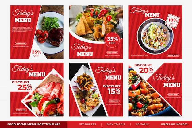 Post na instagramie lub kwadratowy baner z motywem żywności dla restauracji