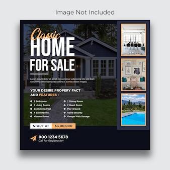 Post na instagramie nieruchomości zaprojektuj szablon postu w mediach społecznościowych
