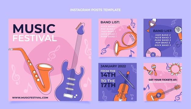 Post na instagramie z płaskim minimalnym festiwalem muzycznym